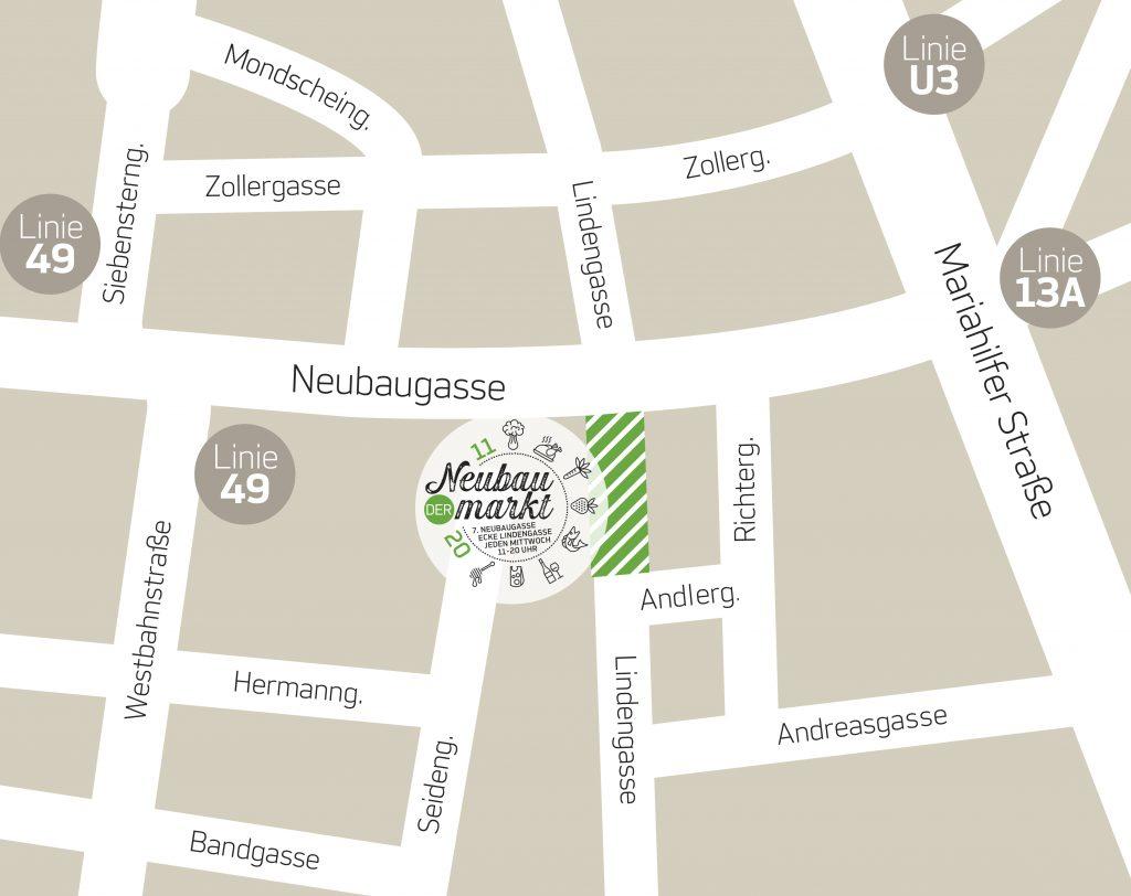Plan zum Marktgebiet in der Lindengasse